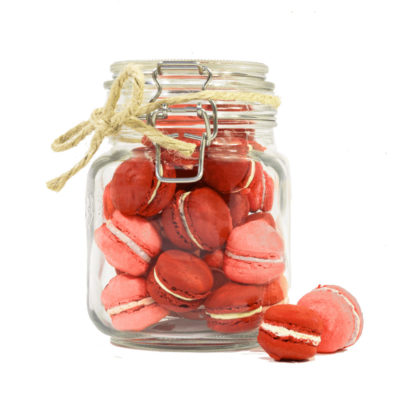 Gifts Collective Mini Rose & Strawberry Macarons Jar. A Glass Jar of Mini Rose & Strawberry Macarons, made in-house.