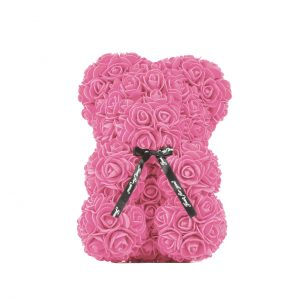 Gifts Collective 25cm Rose Teddy Bear. A teddy bear covered with synthetic red or pink roses, handmade with love. Beautifully gift-wrapped in a clear gift box & satin ribbon.