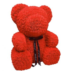 Gifts Collective 25cm Rose Teddy Bear. 70cm Rose Teddy Bear. A teddy bear covered with synthetic red or pink roses, handmade with love. Beautifully gift-wrapped in a clear gift box & satin ribbon.