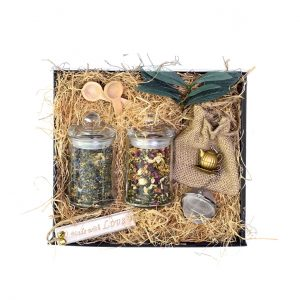 Gifts Collective Blend-Your-Own Tea Gift Box. Create & name your own perfect blend of loose leaf tea for your loved ones. The gift box comes with 1 jar of Gifts Collective signature blend, 1 jar of your customised blend, and a quality tea strainer.