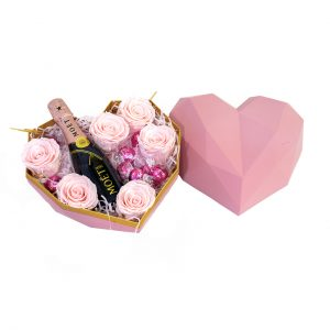 Moët & Chandon, Lindt Chocolates & Roses in Heart-Shaped Box